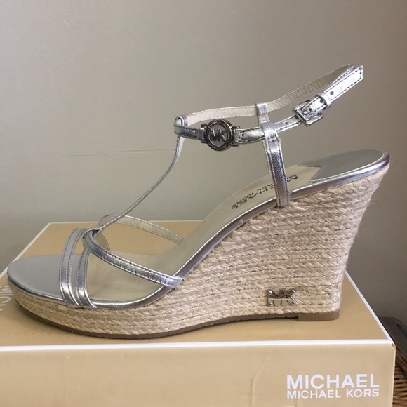 ab81daff99a10 MICHAEL Michael Kors Shoes | Michael Kors Kami Silver Wedge Sandals ...